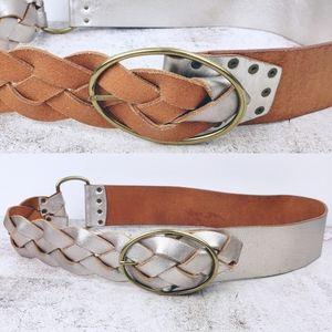 Boho Genuine Leather Braided Double Side Wide Belt